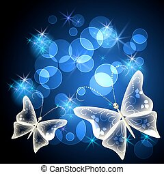 Transparent butterfly and stars - Glowing background with...