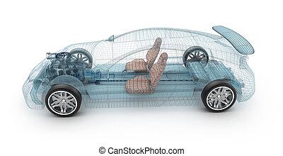 Transparent car design, wire model.3D illustration. My own ...