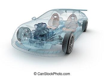 Transparent car design, wire model.3D illustration. My own...