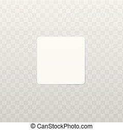 transparent., carrée, mockup, notes, isolé, étiquette, papier, vecteur, ou, autocollant, 3d