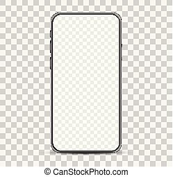 transparent, checkered, simple, vide, smartphone, screen., mockup