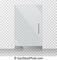 Superbe Transparent Clear Glass Door Isolated On Checkered Background Vector  Illustration