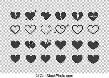 transparent., cliipart, diferente, isolado, vetorial, corações