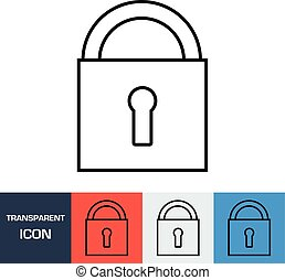 Transparent closed padlock icon. Vector icon on different types backgrounds, Eps 10
