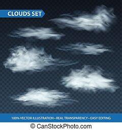 Transparent clouds realistic set on transparence background. Vector illustration EPS10
