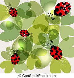 Spring time transparent clovers and beetles background. EPS10 file version. This illustration contains transparencies and is layered for easy manipulation and customization.
