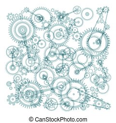 Transparent Cogs, Gears on White Background Vector