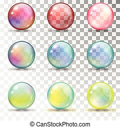 Transparent colored balls with overflow. Pearl bubbles. Set...