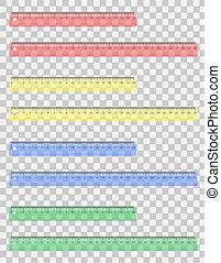 transparent colored ruler vector illustration