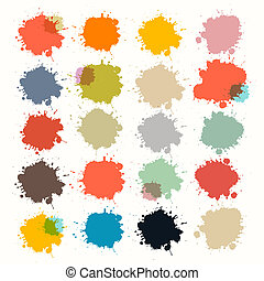 Transparent Colorful Retro Vector Stains, Blots, Splashes Set