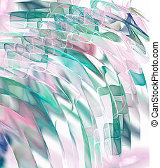 Transparent colorful waves in pastel colors flow diagonally against a light background. Abstract fractal background. 3d rendering. 3d illustration.