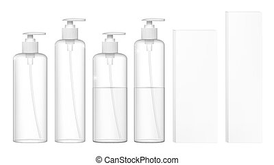 Transparent Cosmetic Plastic Bottles With Dispenser Pump. Liquid Container For Gel, Lotion, Cream, Shampoo