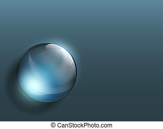 Transparent crystal ball on a dark background.