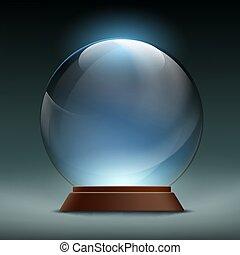 Transparent crystal, glass, magic ball. Stock vector illustratio