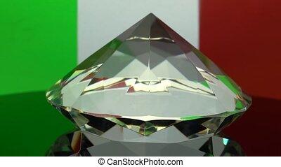 Transparent diamond rotates at one point. Italy flag...