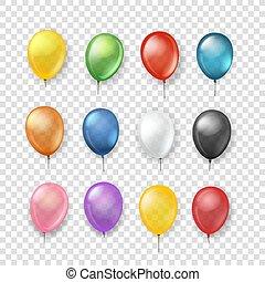 transparent., diferente, jogo, clipart, cor, isolado, vetorial, balões, transparente