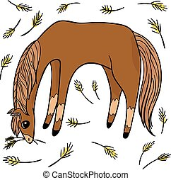 transparent., divertente, set, oggetto, quattro, saltare, horses.