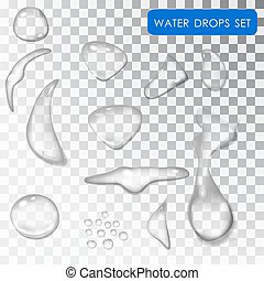 Transparent drop of water. Drip water. Rain. Droplets of dew on a transparent background isolated.