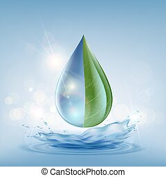 Transparent drop of water on a blue background
