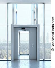 Transparent elevator in penthouse - Transparent elevator in...