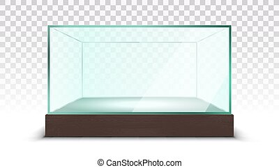 Transparent Empty Glass Box Showcase