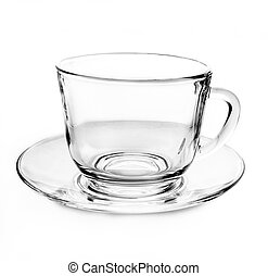 Transparent empty tea cup