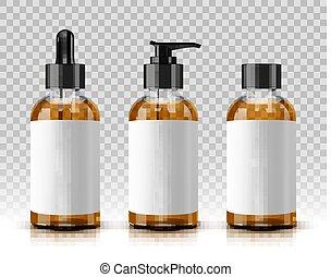transparent, flaskor, kosmetisk, bakgrund, isolerat
