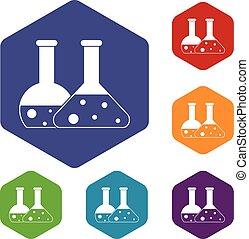Transparent flasks icons set