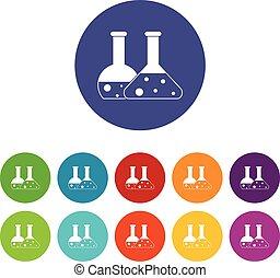 Transparent flasks set icons