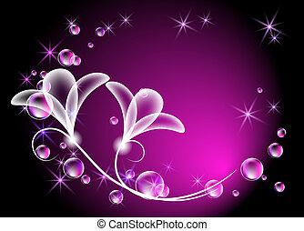 Transparent flowers and bubbles