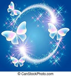 Transparent flying butterflies