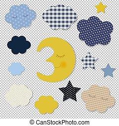 transparent, fond, dessin animé, étoiles, lune