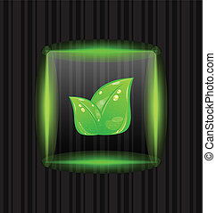 Transparent frame with green leaves on striped background