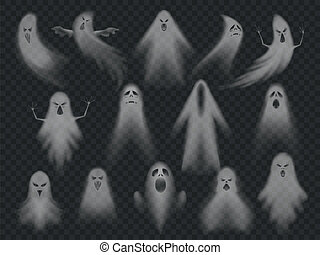 Transparent ghost. Horror spooky ghosts, halloween night...