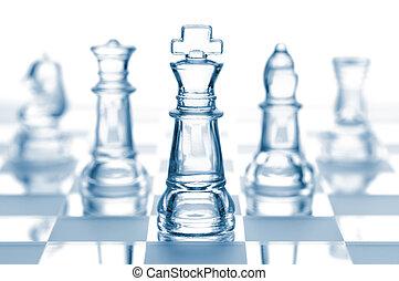 transparent, glas, chess, isoleret, på hvide