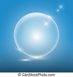 Transparent glass ball on blue background