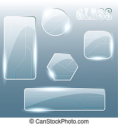 transparent glass banners - Collection of shiny glass and ...