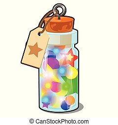 Transparent glass bottle with multicolored Christmas decorations isolated on white background. Sample of poster, party holiday invitation, festive card. Vector cartoon close-up illustration.