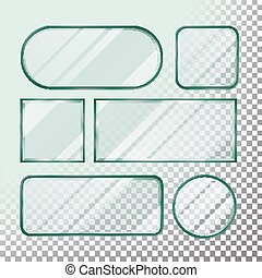 Transparent Glass Button Vector. Set Square, Round, Rectangular Shape. Realistic Plates. Isolated On Transparency Background Illustration