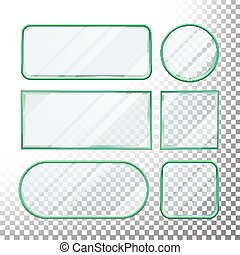 Transparent Glass Buttons Vector. Glass Plates Elements. Set Square, Round, Rectangular Shape. Realistic Plates. Plastic Banners With Reflection. Isolated On Transparency Background Illustration