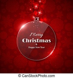 Transparent glass Christmas Ball with glowing light, red background, snowflake pattern. Merry Christmas and Happy New Year text. Vector illustration
