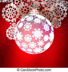 Transparent glass Christmas Ball with snowflakes.