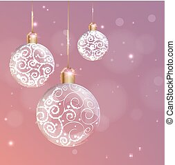 Transparent glass Christmas Ball with white swirls