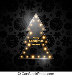 Transparent glass Christmas tree with glowing light, black  background, snowflake pattern. Merry Christmas and Happy New Year text. Vector illustration