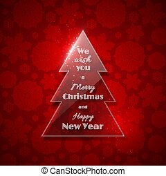 Transparent glass Christmas tree with glowing light, red background, snowflake pattern. Merry Christmas and Happy New Year text. Vector illustration