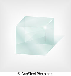 Transparent glass cube
