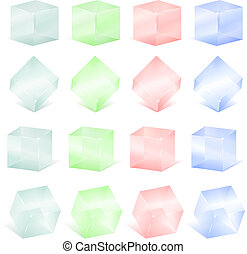 Transparent glass cubes