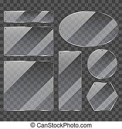 Transparent glass frames photo realistic vector set -...