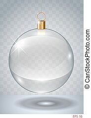 Transparent glass garland - Transparent glass Christmas...