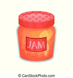 Transparent glass jar with apple jam. Bank with red lid and label. Delicious fruit marmalade. Concept of organic farm product. Cartoon flat vector icon